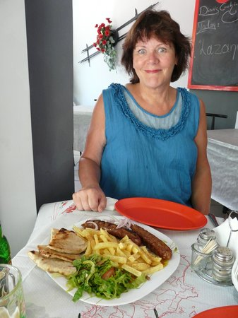 Ovelix Dina's Kitchen : One plateful for TWO will do! Home-made sausages, chips, pitta bread & salad for €6.