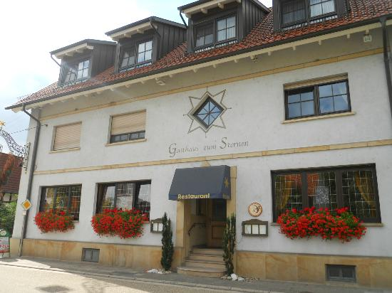 Hotel-Restaurant Gasthaus zum Sternen: Outside of hotel with room 1& 2 on left first floor.
