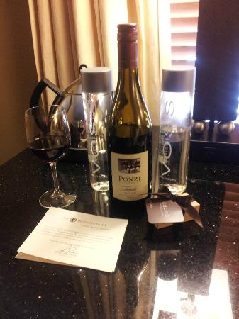The Heathman Hotel: A nice gift in the room - two bottles of water and one of Pinot Noir