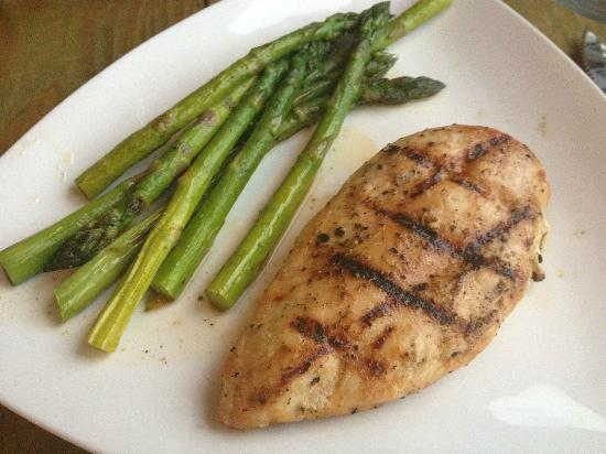 Port Of Call Restaurant: Grilled chicken breast and grilled asparagus, ordered a la carte.
