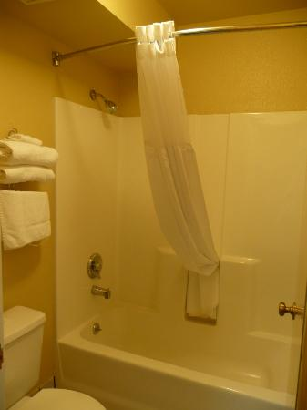 Super 8 Fortuna: Nice clean tub insert and curved curtain rod