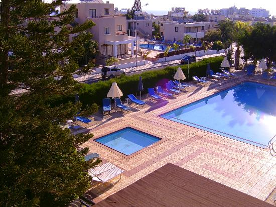 Debbie Xenia Hotel Apartments: View of pools from Room 207 balcony.
