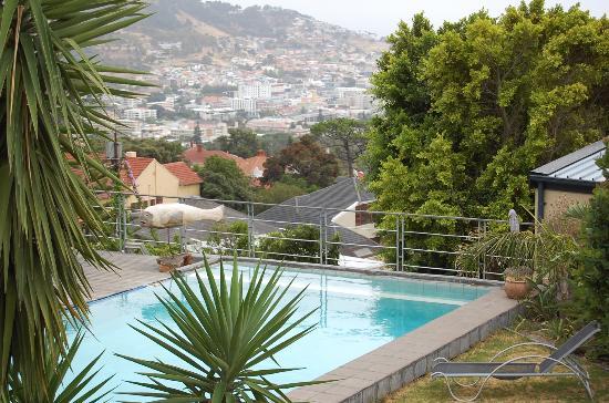 Blue Sky B&B: Ein Blick von der Terrasse auf den Pool....und Tamboerskloof