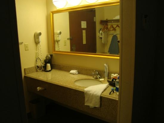 La Quinta Inn Toledo Perrysburg: That's the entry door reflected in the vanity mirror...