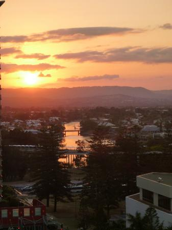 Peppers Broadbeach: View looking north at sunset