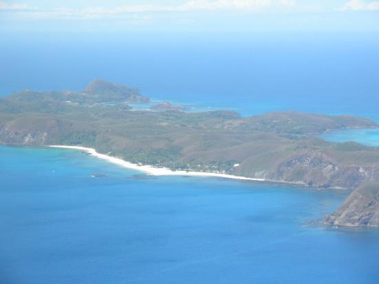 Yasawa Island Resort and Spa from the air.