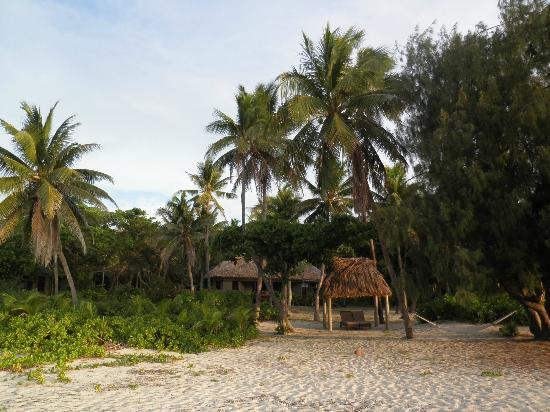 Yasawa Island Resort and Spa: Our Bure looking back from the beach.