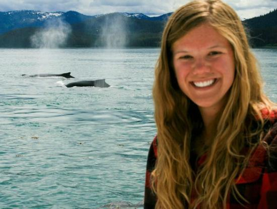 "Cross Sound Express Whale Watching: My co-worker Amy with some of ""her"" whales"