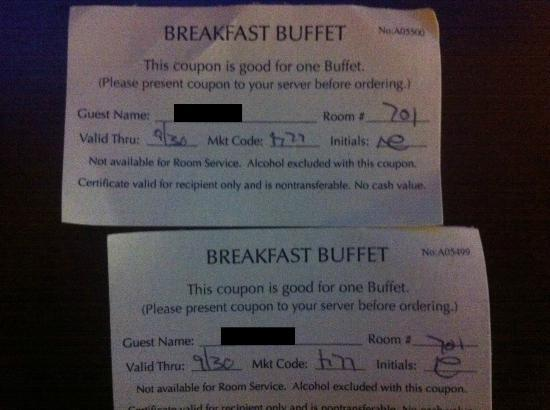 DoubleTree by Hilton Hotel Newark Airport: Breakfast vouchers