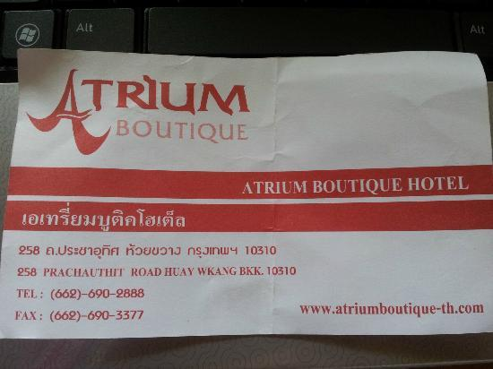Atrium Boutique Resort Hotel: Hotel Details in Thai