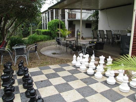 Mapleton Falls Accommodation: Back deck and chess board