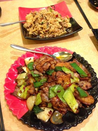 spicy ginger: shredded pork fried rice and double cooked pork belly