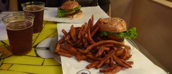 BGR The Burger Joint: The BGR burger with sweet potatofries