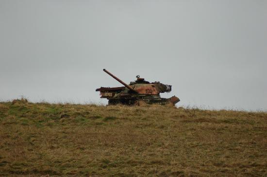 Imber Range Perimeter Path: A wrecked tank