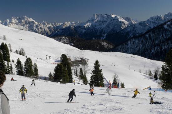 piste da sci vicine all'Hotel Monzoni, Passo San Pellegrino, Moena (TN) sulle Dolomiti