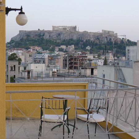 Evripides Hotel: Aussicht auf Akropolis