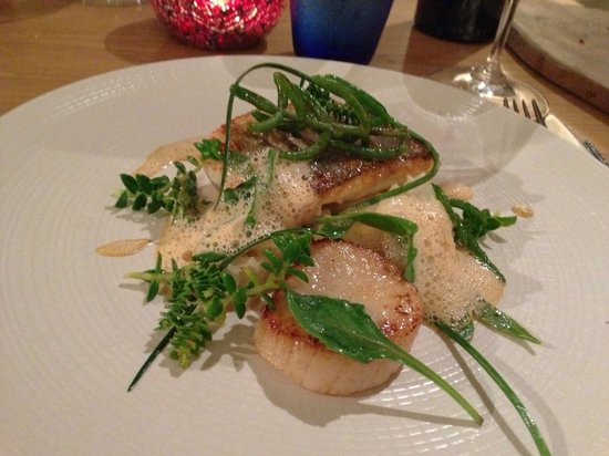 Cartmel, UK: Main course of Sea Bass with Sea Scallop and foraged herbs