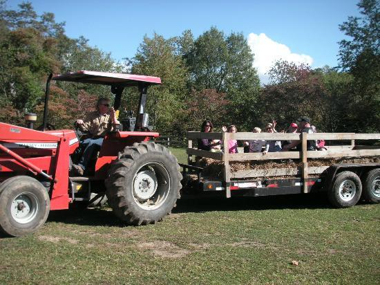 Arrowmont Stables: HayRides are pulled with a tractor