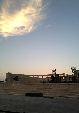 Katara Cultural Village: sunset as katar amphitheatre is prepared for performance of the opera aida