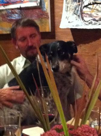 Dunham Cellars: Eric and canine friend joining our table