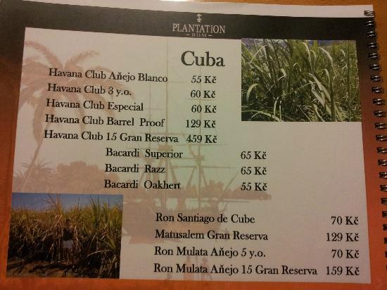 Havana Club Bar: A part of the menu