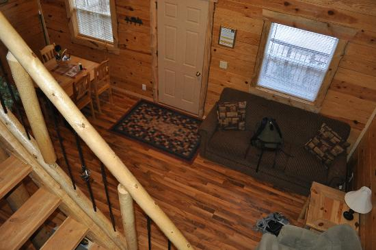 Rustic Ridge Guest Cabins : Living room of Hunters Haven looking down from the loft