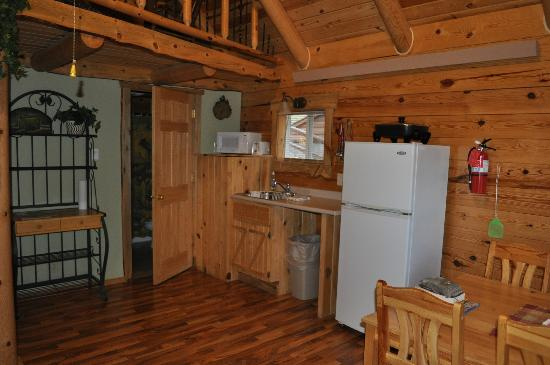 Rustic Ridge Guest Cabins : Kitchen area of Hunters Haven and door to bathroom