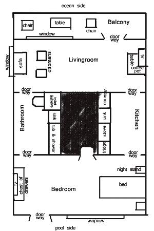 Castle in the Sand Hotel: layout of suite not to any scale to help with discription
