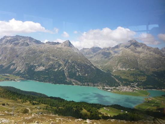 Mount Corvatsch: Top of Corvatsch looking down at Silvaplana