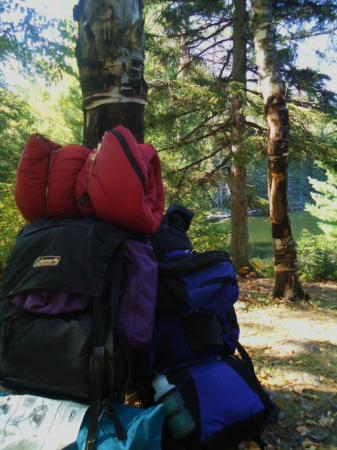 Bear Head Lake State Park: Our backpacks we used to hike into our backpack site (site 1)