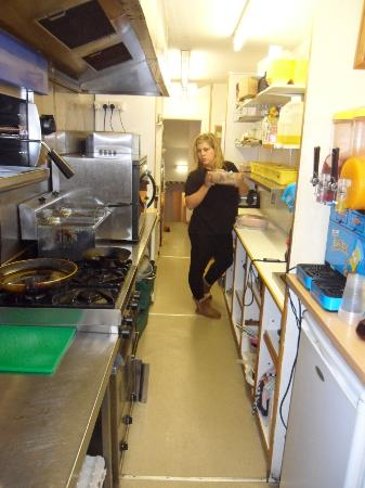 Roasties: the lovely owner Frankie ion her spotless Kitchen
