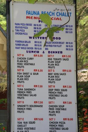 Fauna Beach Chalet: il menu