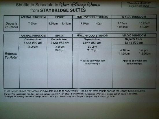 Staybridge Suites Lake Buena Vista: Calendario de traslado, hay diferentes por temporada