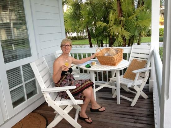 Sunset Key Cottages, A Luxury Collection Resort, Key West: Mary enjoying breakfast at cottage on Sunset Key