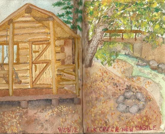 Elk Creek Campground : Water color painting of our cabin