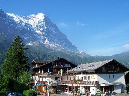 Hotel Caprice: Aussenansicht mit Eiger im Sommer