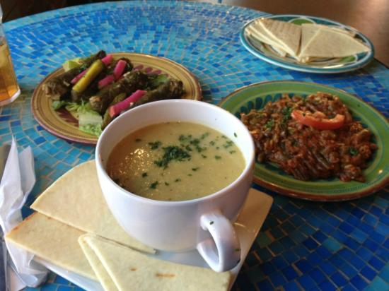 Chickpea Cafe: Braised green beans, grape leaves, and lentil soup