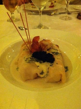 Luxury Bahia Principe Ambar Blue Don Pablo Collection: Lobster Roll with caviar at Belle Italia