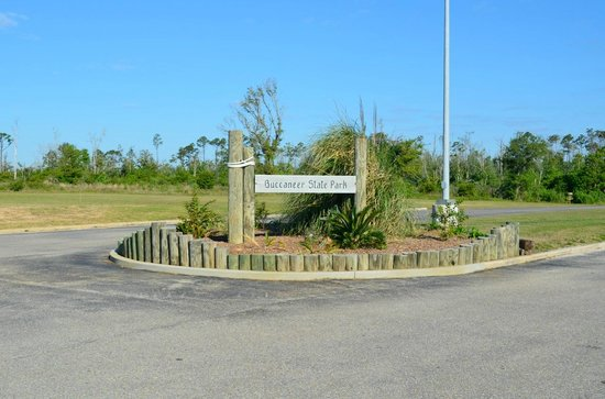 Waveland, MS: State park entrance sign on South Beach Rd