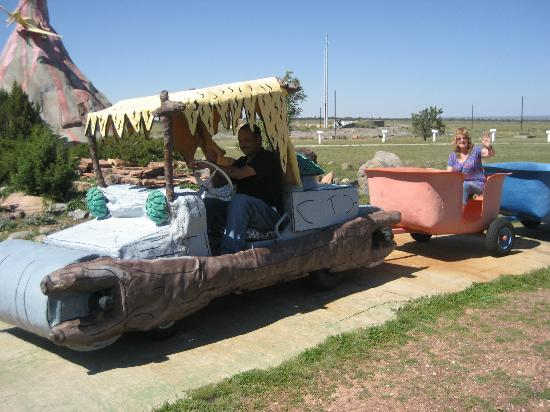Flintstone's Bedrock City: On the Bedrock train!
