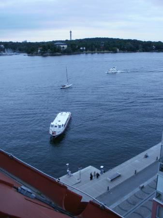 Elite Hotel Marina Tower: Public transport boats stopping at Saltsjöqvarn stop, i.e. where hotel is