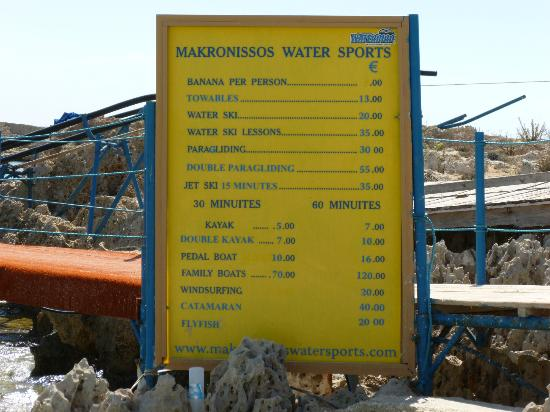 Watersports Price List Picture Of Makronissos Beach
