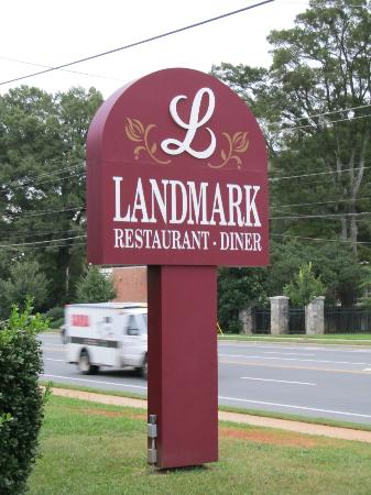 Landmark Diner: Sign by the road