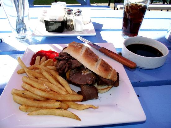 Jamie's Dockside Diner at Taylor's Landing: Yummy French Dip w/fries and au jus!