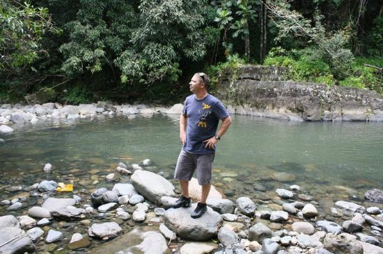 JungleQui Rainforest EcoAdventure Park: My husband appreciating the beauty of the rainforest