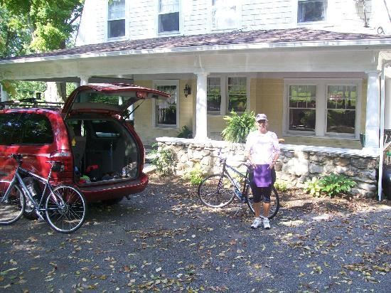 Hilltop House  Bed & Breakfast: My wife in the parking area. . .