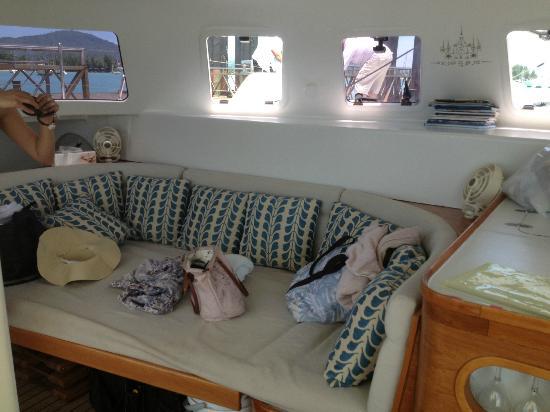 DaVinci Yacht Charter-Day Tours: Lounge area in the catamaran