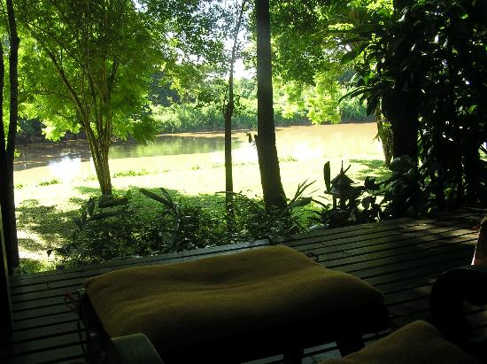 Baannamping Riverside Village: View from the Bungalow verandah to the River