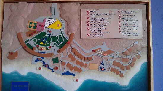The Westin Los Cabos Resort Villas & Spa: a wall mural map of the grounds