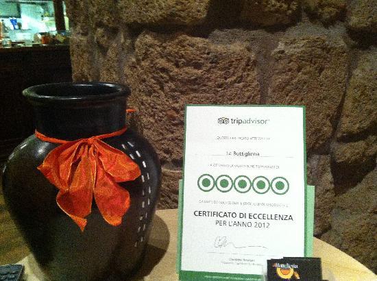 La Bottiglieria: Certificato di eccellenza 2012